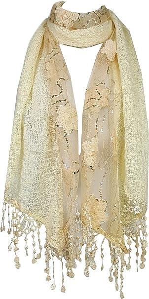 GFM funda Glamorous dos capas Sparkle rosas encaje o brillantes lentejuelas y rosetas bufanda para otoño invierno o Tardes