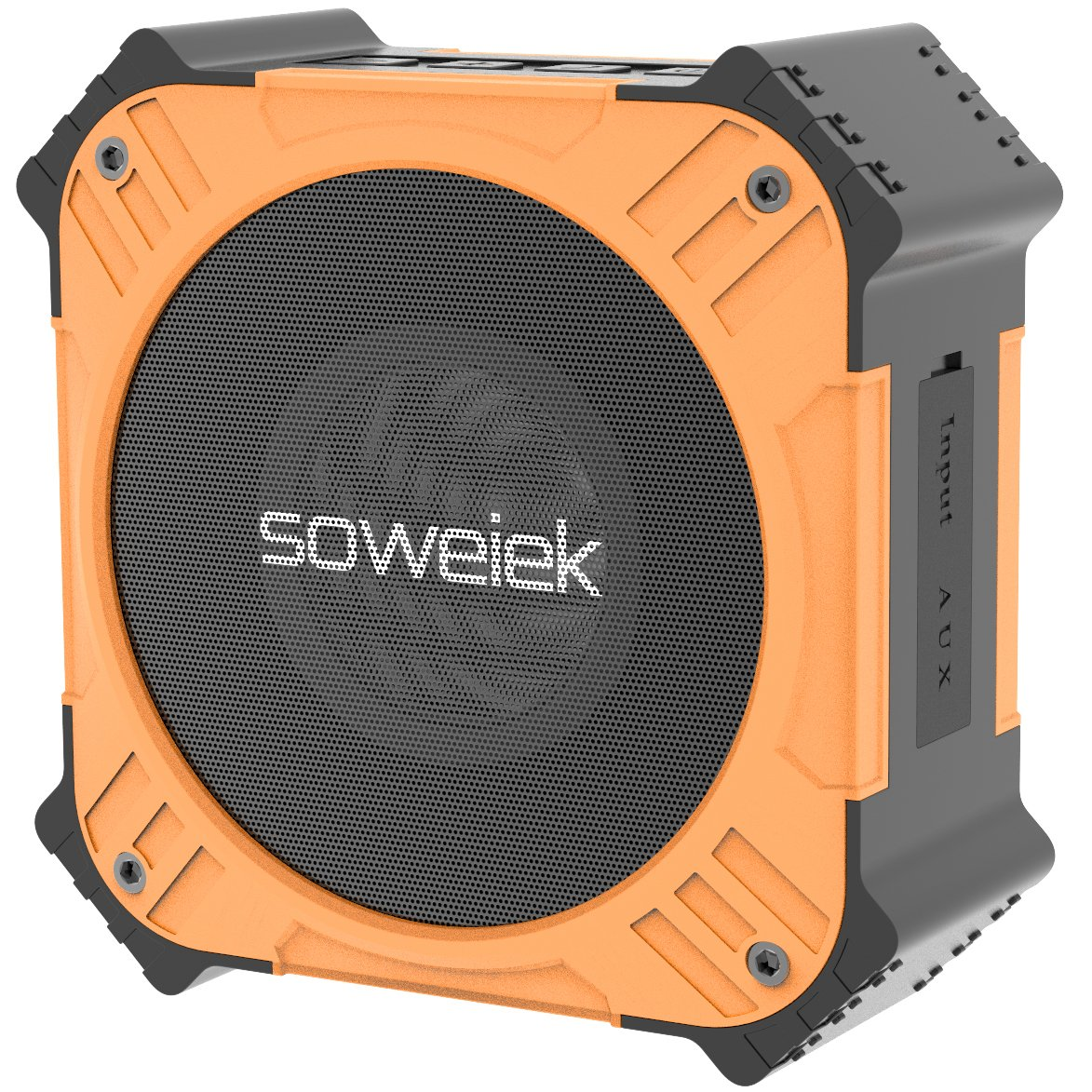 Solar-Powered Bluetooth Speaker, Soweiek Portable IPX6 Waterproof Wireless Speaker with 20 Hours Playtime HD Stereo Sound Deep Bass Mic AUX Durable Design - Orange by Soweiek