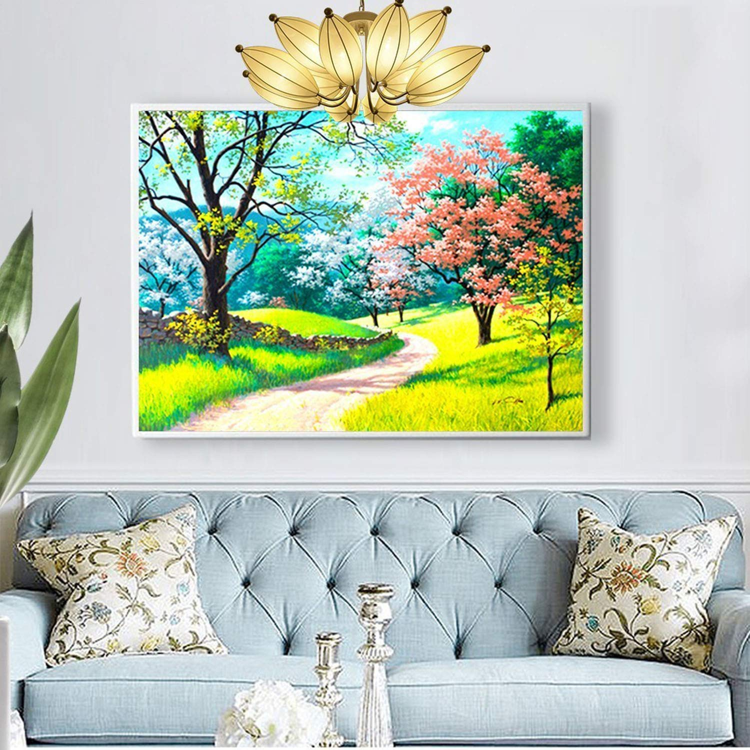 Diamond Embroidery Full Display Spring Full Square DIY Cross Stitch Diamond Painting Landscape Mosaic Home Decor Gift,F20,Squaredrill 80x100cm by ONLY-FOR-ME-1 (Image #3)