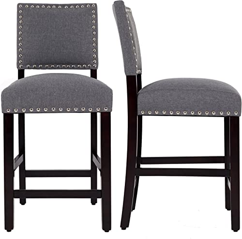DAGONHIL 24 Inches Counter Height Bar Chair with Black Solid Wood Legs-Set of 2 Gray
