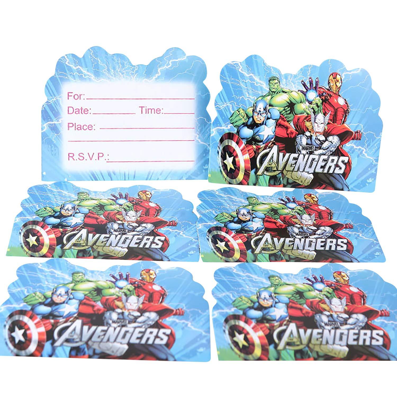 30Pcs Invites /& Envelopes for Children Boys Girls Birthday Party Celebrations Qemsele Kids Party Invitations Cards Avengers Theme Party Invites