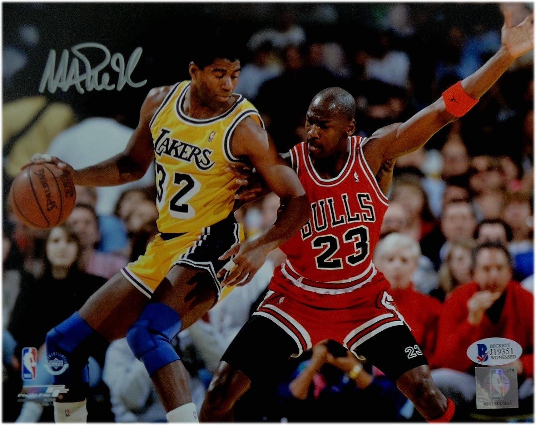 10aa17d7006 Magic Johnson Signed Autographed Auto 8X10 Photo vs Michael Jordan Beckett  COA at Amazon's Sports Collectibles Store