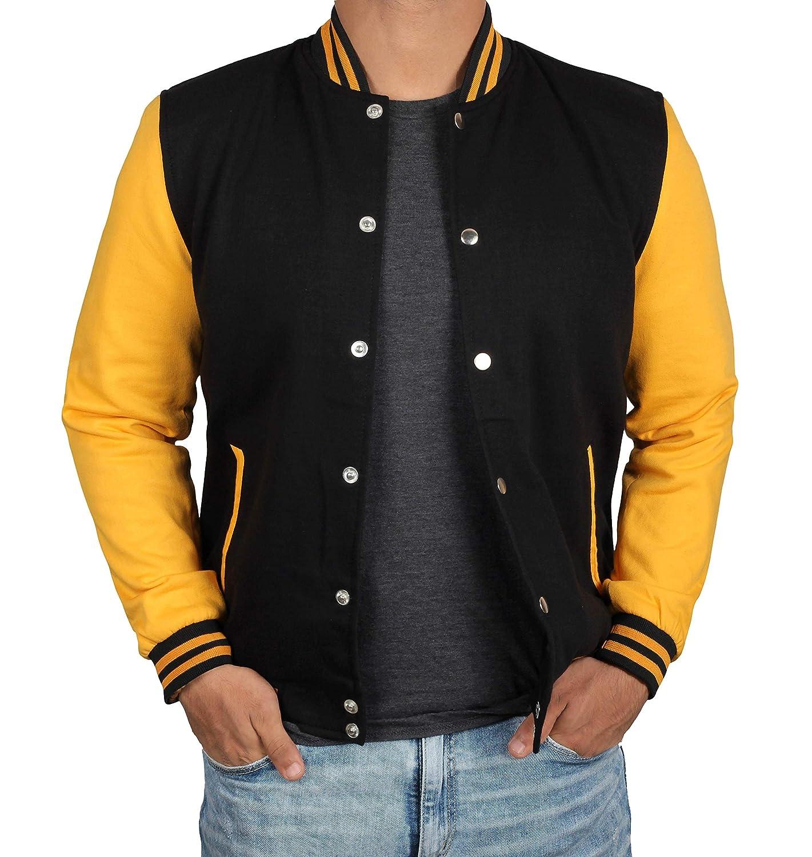 BlingSoul OUTERWEAR メンズ B07JQVDCKF Black & Yellow Varsity Jacket Small