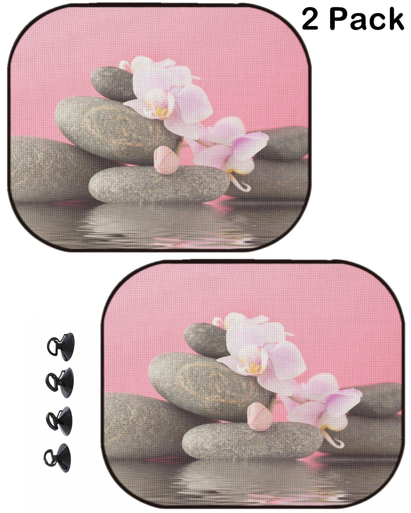 MSD Car Sun Shade Protector Block Damaging UV Rays Sunlight Heat for All Vehicles, 2 Pack Image ID 28544324 Spa Stones on Pink Background with Orchids