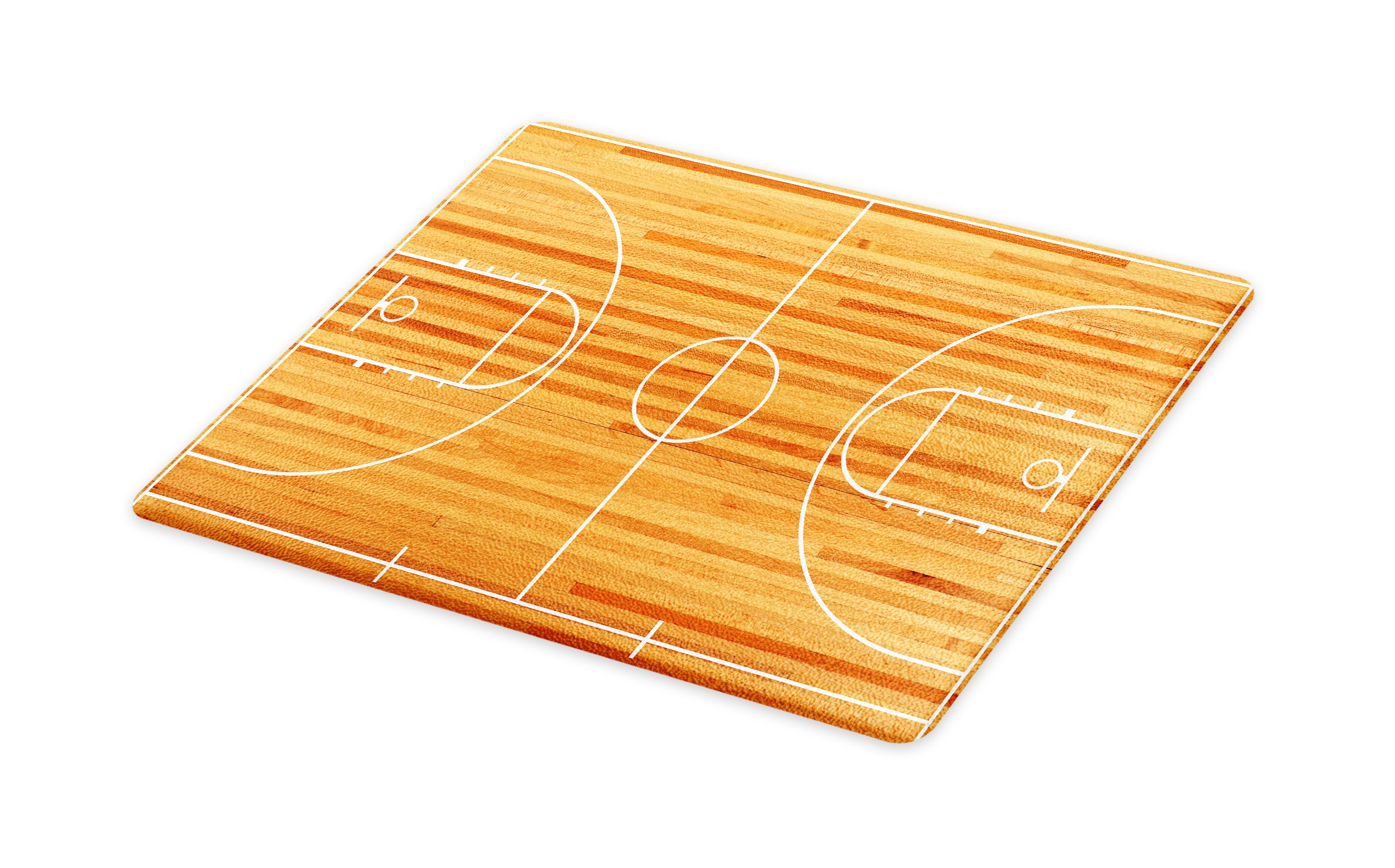 Lunarable Boy's Room Cutting Board, Standard Floor Plan on Parquet Backdrop Basketball Court Playground Print, Decorative Tempered Glass Cutting and Serving Board, Small Size, Pale Brown White