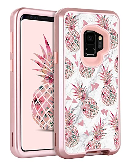 best cheap ce1d7 76783 GUAGUA Galaxy S9 Case Samsung S9 Case Marble Pink Pineapple Glossy Cover  Girls Women Hybrid Three Layer Hard PC Soft TPU Shockproof Protective Phone  ...