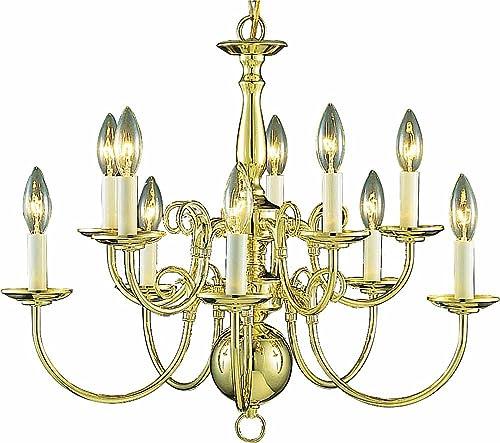 Volume Lighting V3570-2 10 Light Polished Brass Chandelier, 23.5 x 23.5 x 21
