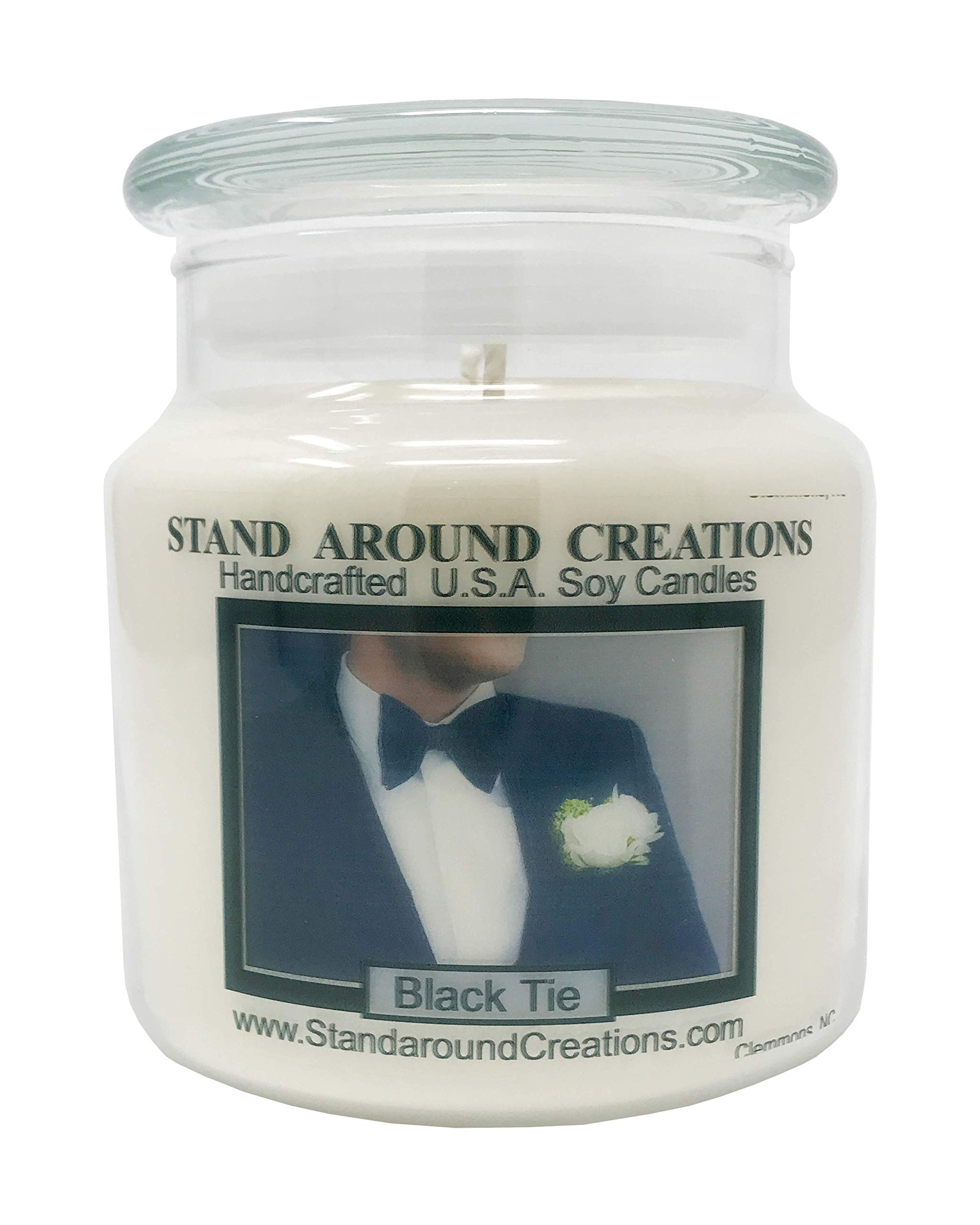Premium 100% Soy Apothecary Candle - 16 oz. - Black Tie: Sophisticated notes of leather w/warm woods, patchouli, musk.