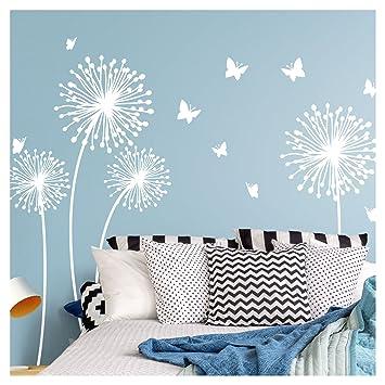 Wandora W1509 Wandtattoo 4 Pusteblumen I Weiß L Set I Kinderzimmer  Schmetterlinge Flur Wohnzimmer Wandsticker