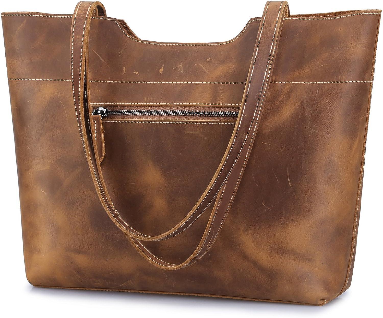 S-ZONE Vintage Genuine Leather Tote Bag