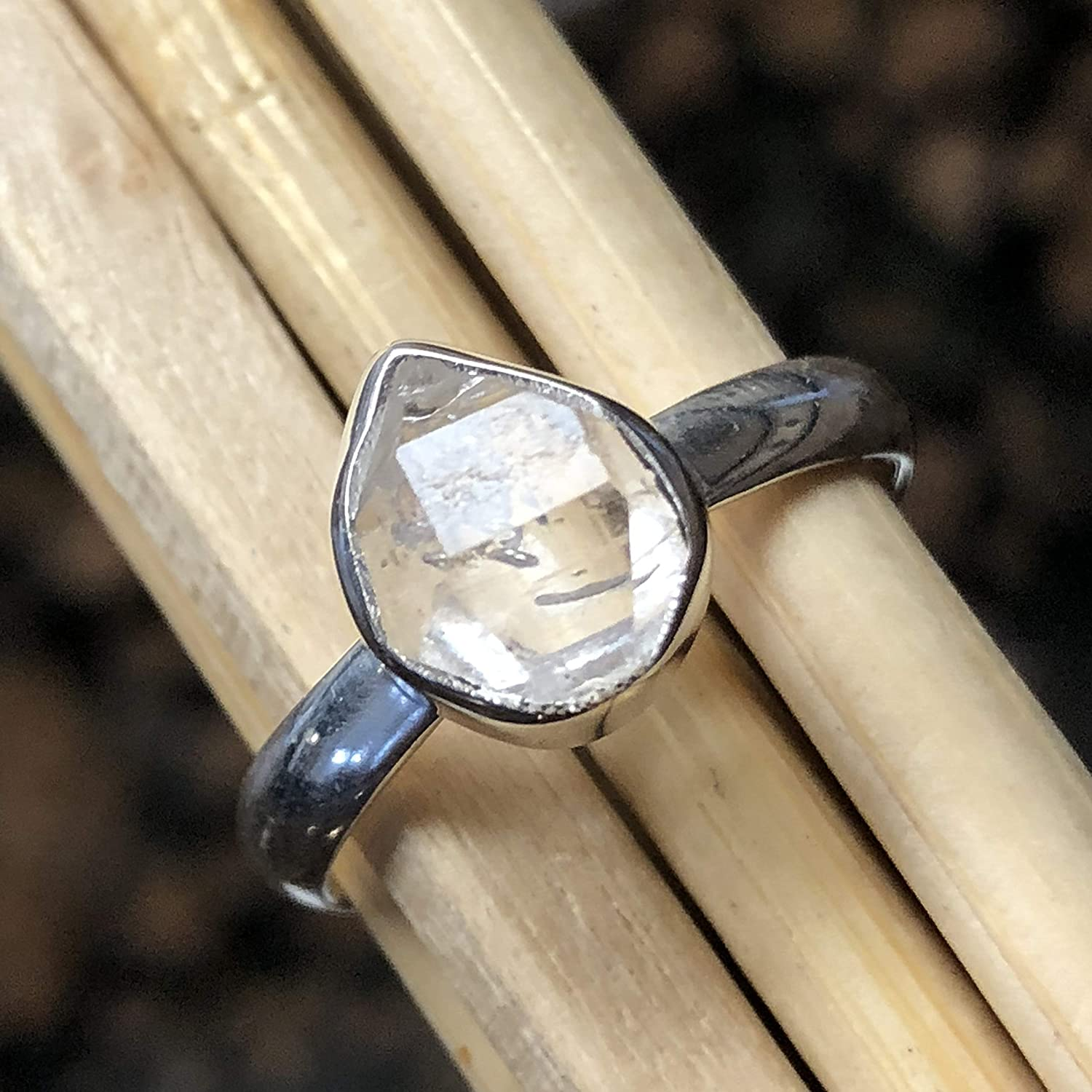 Natural Herkimer Diamond 925 Solid Sterling Silver Cluster Ring sz 7