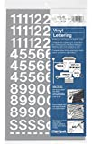 Chartpak Self-Adhesive Vinyl Numbers, 3/4 Inch High, White, 222 per Pack (01126)
