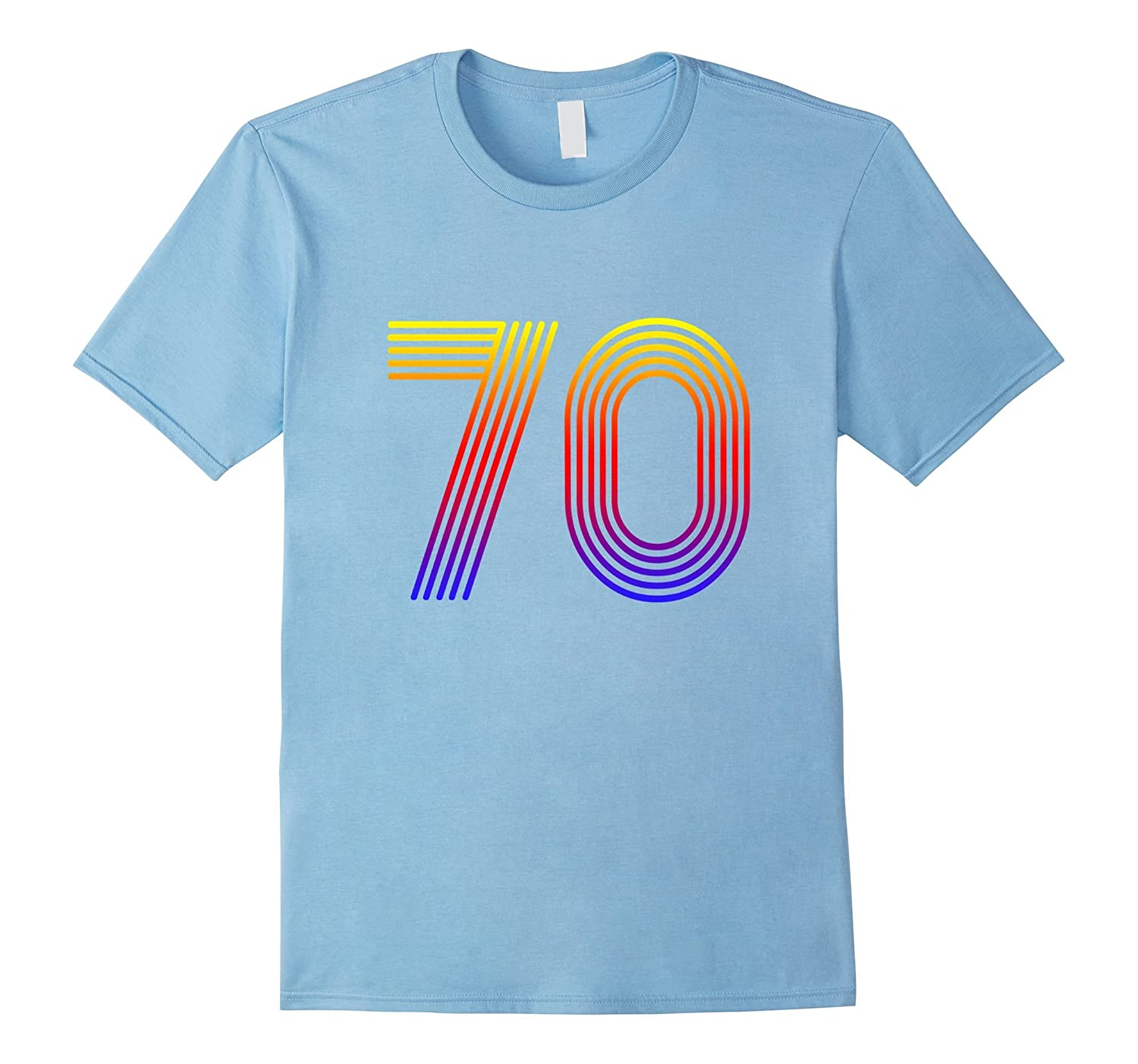 Cool Groovy Number 70 T Shirt Rainbow Color Disco-Art