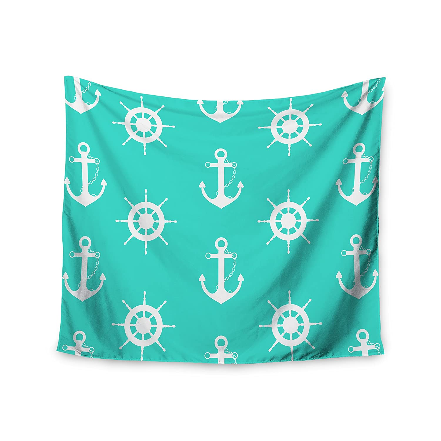 68 x 80 Wall Tapestry Kess InHouse afe Images Anchor and Helm Wheel Teal White Illustration