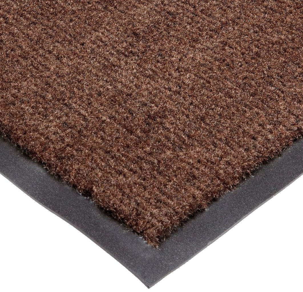 NoTrax T37 Fiber Atlantic Olefin Entrance Carpet Mat, for Wet and Dry Areas, 4' Width x 10' Length x 3/8'' Thickness, Dark Toast