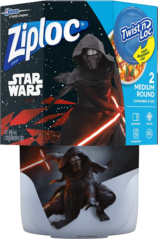 Ziploc Food Storage Meal Prep Containers, Medium, 32 Oz, 2 Count, Twist N Loc- Featuring Star Wars Design