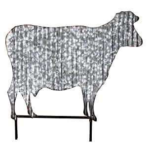 Exhart Corrugated Metal Cow Garden Stake - Rustic Cow Decor on Barnyard Stake- Charming Outdoor Decoration Perfect for Farm Yard, Patio and Garden, 19 x 19 in