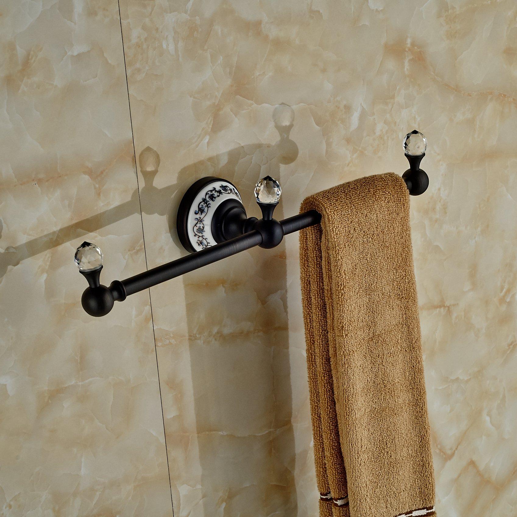 Luxury Crystal Deco Bath Towel Bar Wall Mounted Towel Rac Hanger (Oil Rubbed Bronze) by Rozin (Image #9)