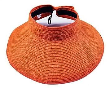 Ganuo Nice Summer Visors Cap Foldable Wide Large Brim Sun Hat Beach Hats  for Women Straw 35ecc58f29a1