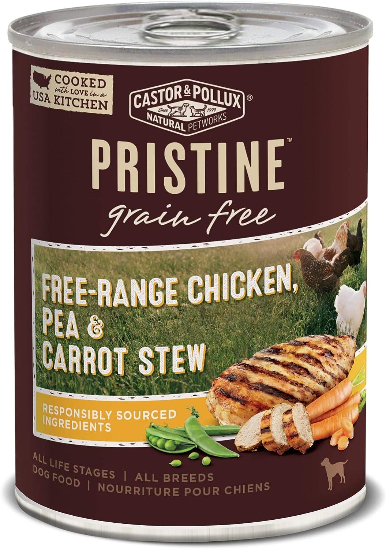 Castor & Pollux Pristine Grain Free Free-Range Chicken, Pea & Carrot Stew Wet Dog Food, 12.7 oz., Case of 12, 12 X 12.7 OZ