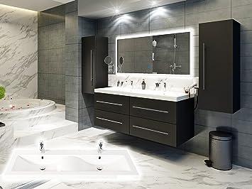 Badmöbelset Elegantes Doppel Badezimmer Möbelset Mit Waschplatz In  Wellenform In Weiß Oder Anthrazit Inkl.