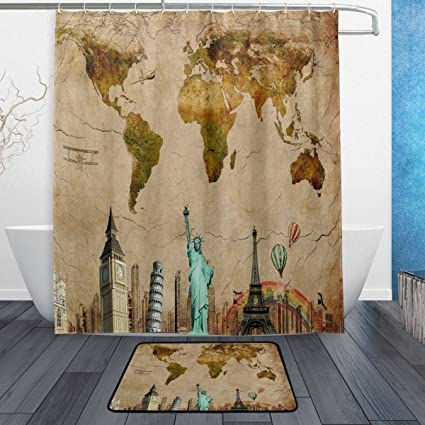 wozo vintage world map eiffel tower polyester fabric bathroom shower curtain 60 x 72 inch with