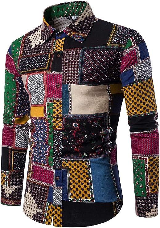Vintage Shirts – Mens – Retro Shirts HENGAO Mens Fashion Printed Long Sleeve Linen Button Down Shirt  AT vintagedancer.com