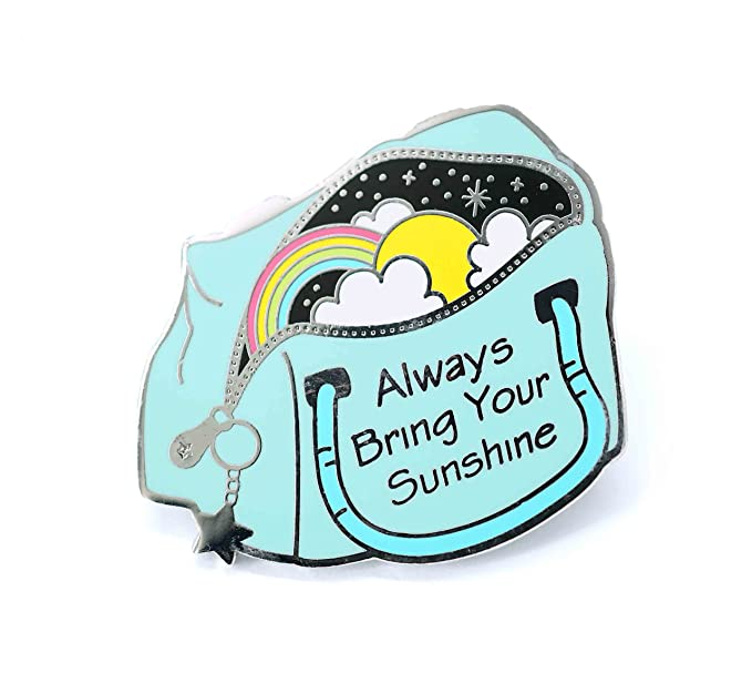 Inspirational Enamel Pin Bag Of Sunshine With a Rainbow Lapel Pin