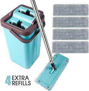 SUPSOO Microfiber Flat Mop with Bucket, Wet Dry Floor Squeeze Cleaning Hand Free, 4 Reusable Microfiber Mop Pads for Floor Cleaning, Stainless Steel Handle