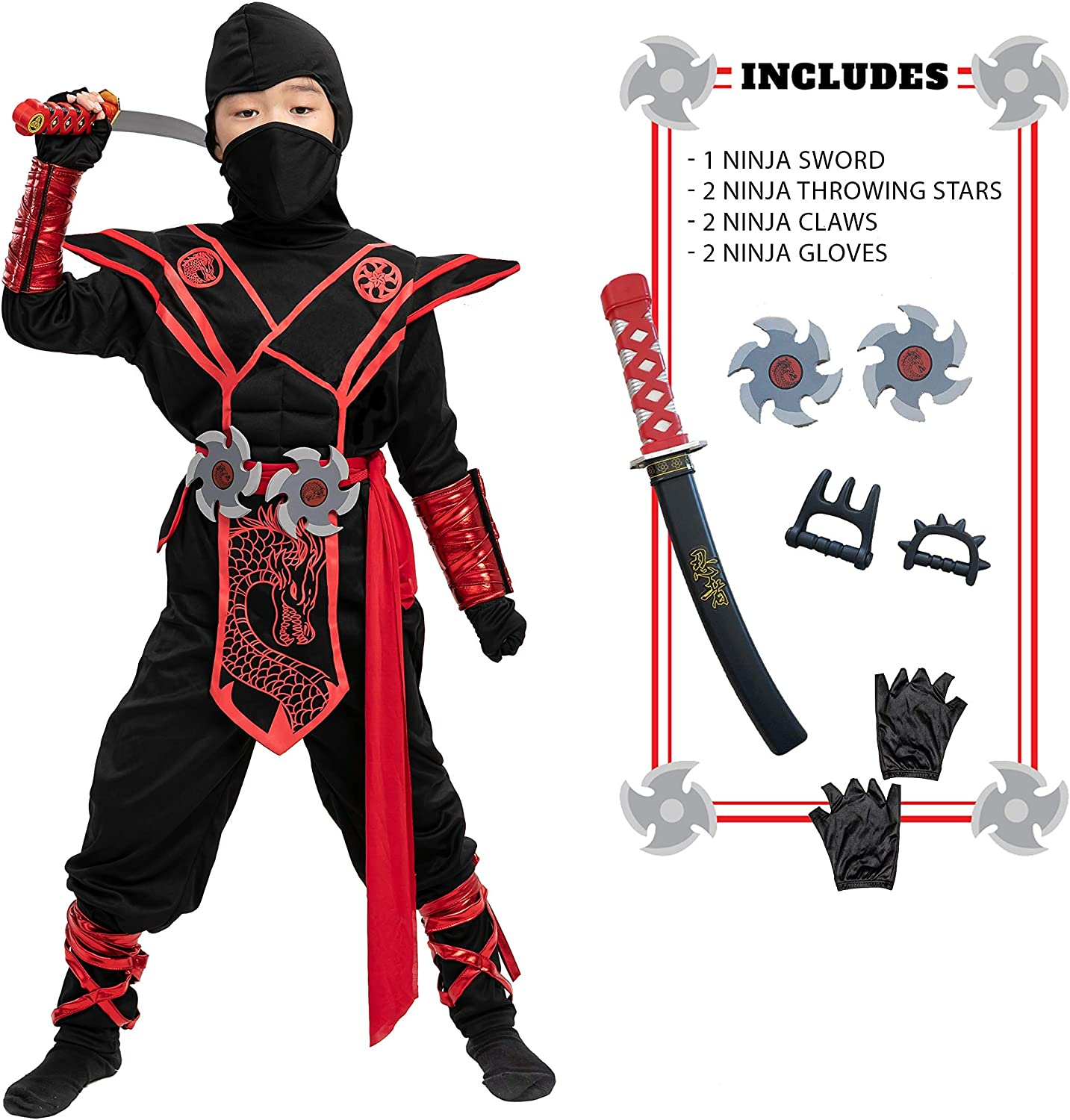 Ninja Dragon Red Costume Outfit Set for Kids Halloween Dress Up Party