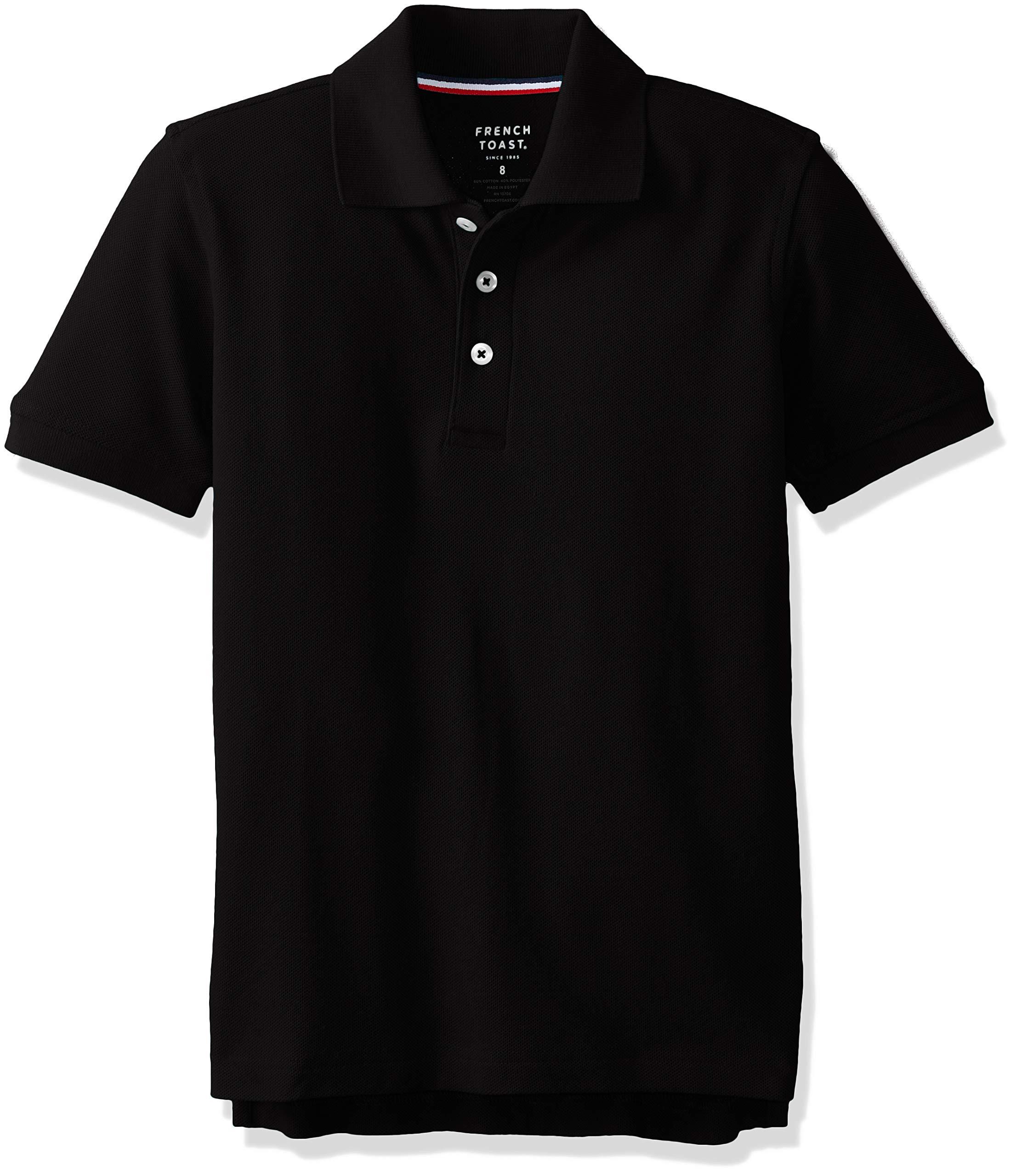 French Toast Boys' Big Short Sleeve Pique Polo Shirt Original, Black, 16 Husky