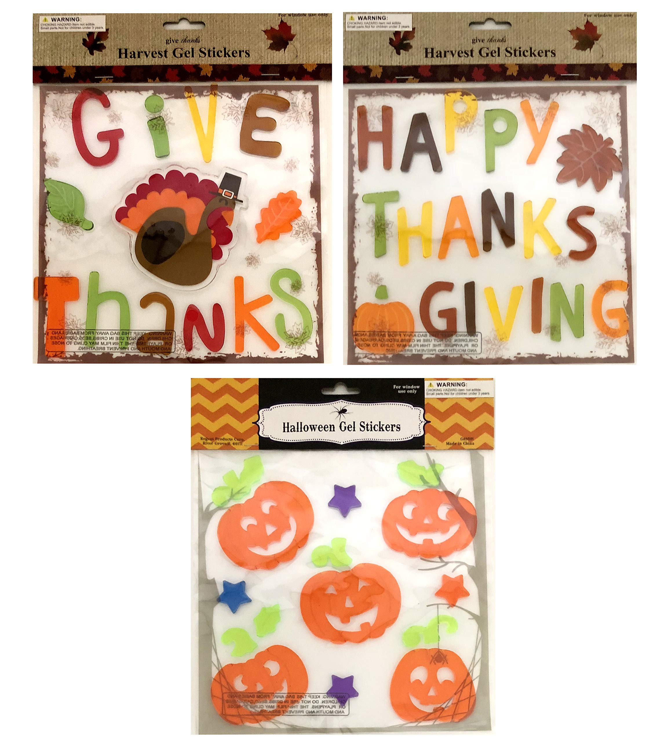 Regent Thanksgiving Fall Pumpkin Gel Sticker Window Clings Decoration Bundle of 3 Packages
