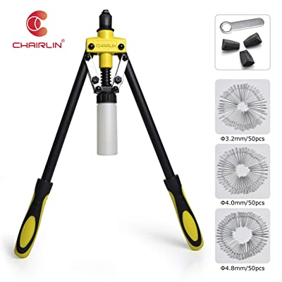 CHAIRLIN Professional Hand Rivet Heavy Duty Rivet Gun Labor-Saving Riveter with 150 Assorted Rivet Sets, 3 Interchangeable Nozzles and Replacement Jaws for Wood Plastic Metal Leather Large Small Job: Home Improvement