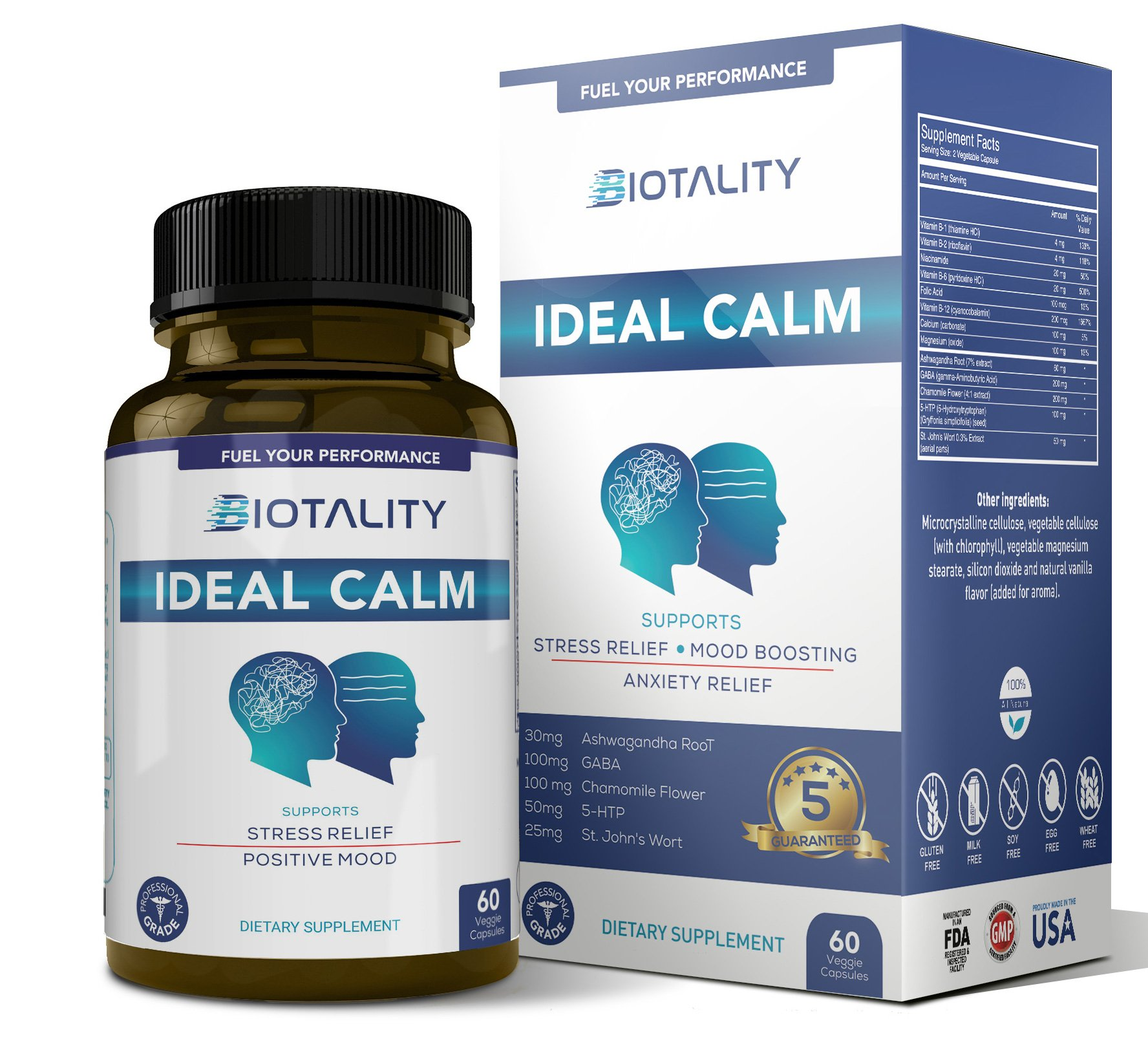 Ideal Calm Mood Support Supplement - All Natural Stress and Anxiety Relief. Scientifically Formulated to Boost Positive Mood and Manage Stress; with Ashwagandha, Chamomile, St. John's Wort
