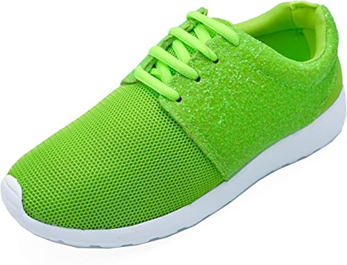 Ladies Neon Green Lace-Up Running