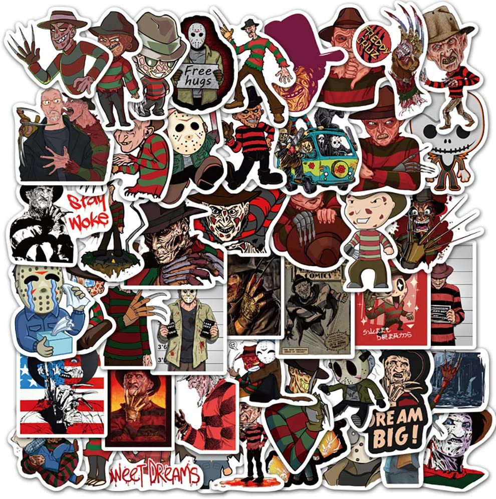 Horror Movie Stickers for Freddy Krueger | 50 PCS | Vinyl Waterproof Stickers for Laptop,Skateboard,Water Bottles,Computer,Phone, Scary Stickers,A Nightmare on Elm Street (Horror movie-50PCS)
