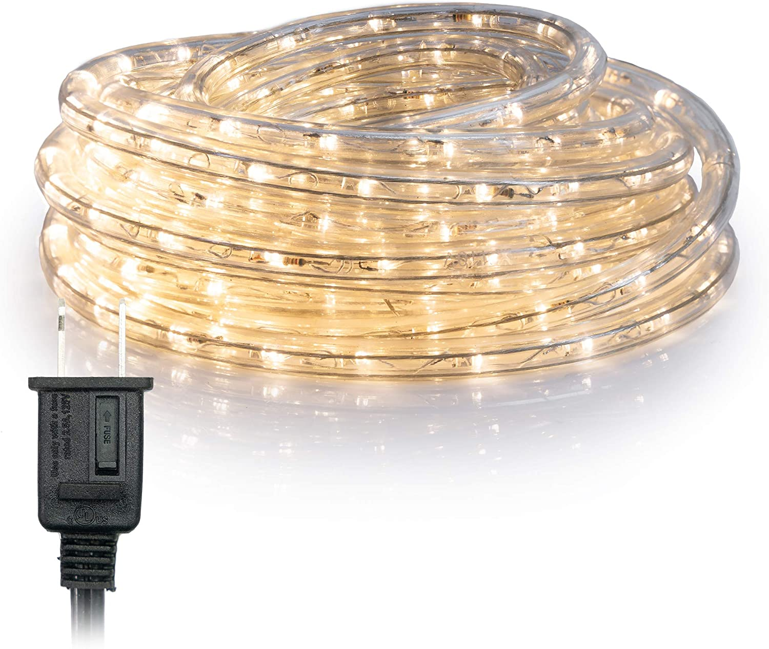 WYZworks 50 feet Warm White LED Rope Lights for Accent Holiday Christmas Party Decoration Lighting | ETL Certified - 10, 25, 50, 100, 150, 300 ft