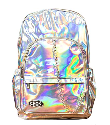 cf7e8ccfb8f CHOK STARLIGHT SILVER HOLOGRAM BACKPACK RUCKSACK BAG with LAPTOP PROTECTION  | School College Unisex Travel | Holographic Reflective Mirror Cool Effect:  ...