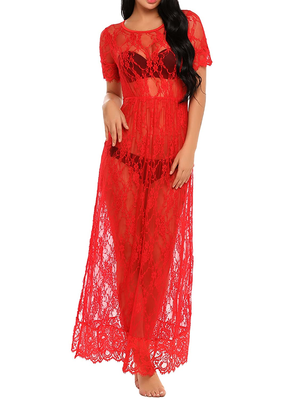 SE MIU Short Sleeve Lace Floral See Through Maxi Beach Dress Swimwear Bikini Cover up 18443