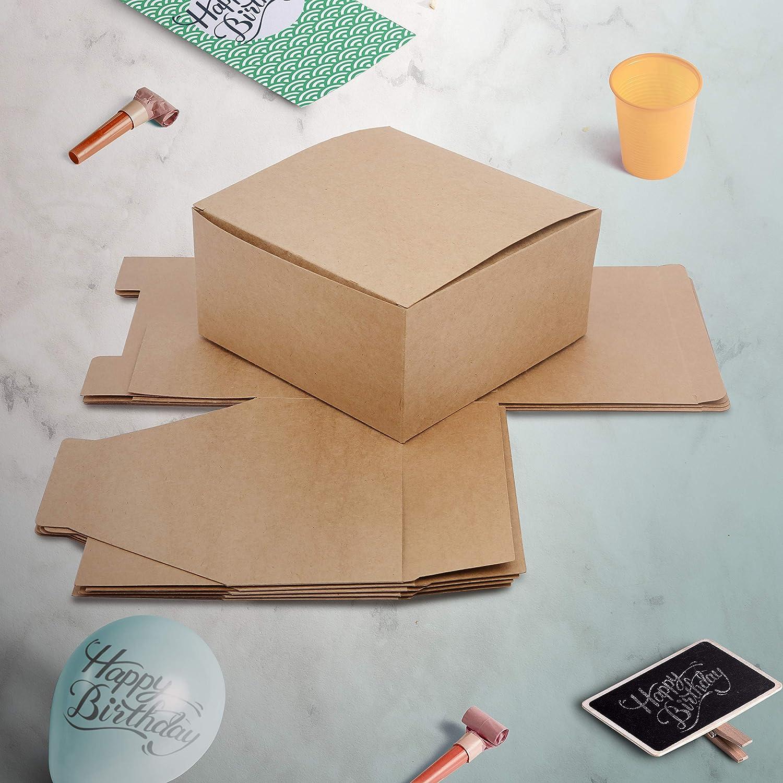 Joyas - Cajas Regalo con Tapa 20 x 20 x 10 cm Festivales Dulces Manualidades Galletas Bodas Pack de 12 para Regalos Cajas de Magdalenas Kraft Cajas de Regalo