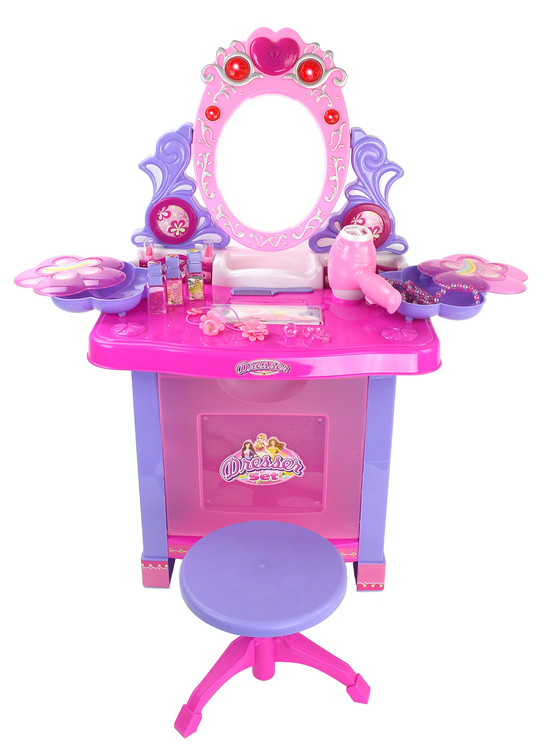 Battery Operated Princess Vanity Mirror Dresser Playset w/ Lights, Opening Dresser, Chair Stool, Sounds & Jewelry Accessories by Velocity Toys