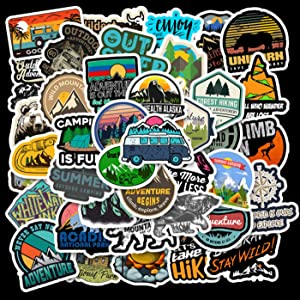 XIMISHOP 50 PCS Outdoor Travel Stickers,Adventure Decals for Teens Camping Stickers Laptop Waterproof Vinyl Stickers for Boys girs Teens