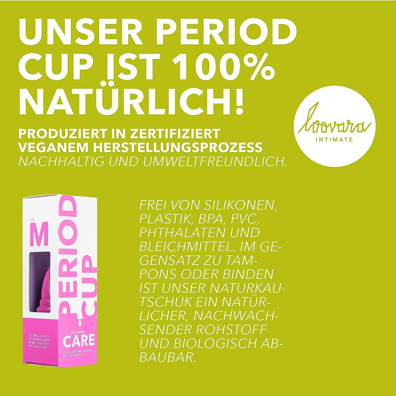 Copa Menstrual de Caucho Natural | 100% Vegana, Sin Silicona, Ecológico, Reutilizable, Muy Suave | Para Menstruación Normal o Abundante | Bolsa de ...