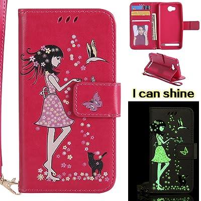 Ecoway Para Huawei Y3 II / Y3 2 Funda, (Rosa roja)Noctilucent Cuero de la PU Leather Cubierta - Series de tiempo de ocio niña , Función de Soporte Billetera con Tapa para Tarjetas Soporte para Teléfono