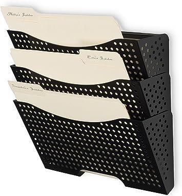 Wall File Holder Organizer Metal Modern Modular Design Metal 3 Storage Level Folders White Steel Durable Construction Black Amazon Ca Office Products
