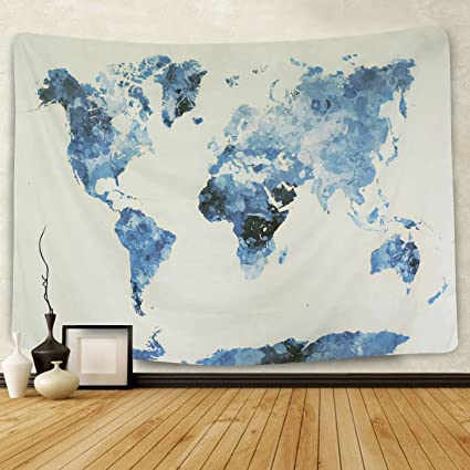 BLEUM CADE Icejazz Blue Watercolor World Map Tapestry Abstract Splatter Painting Wall Hanging Art For