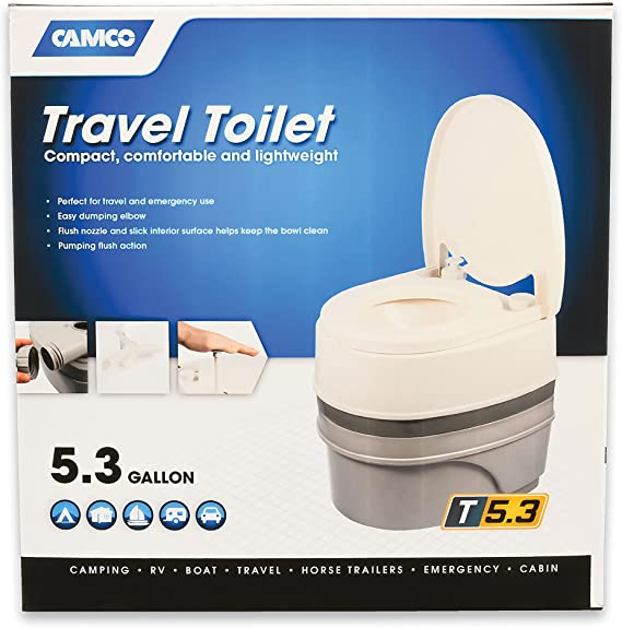 Amazon Com Camco Premium Portable Travel Toilet With Three Directional Flush And Swivel Dumping Elbow Designed For Camping Rv Boating And Other Recreational Activities 5 3 Gallon 41545 Automotive