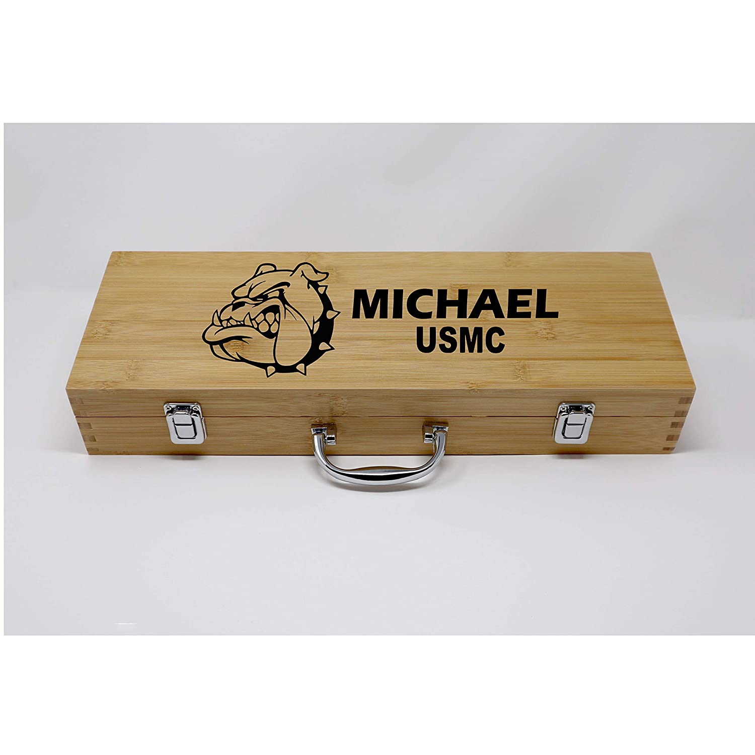 Devil Dog USMC Mascot BBQ Grilling Tool Set Personalized Engraved