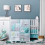 La Premura Baby Nursery Turquoise and Grey Crib Bedding Sets Llama and Cacti 3 Piece Standard Size Crib Set