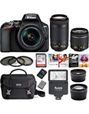 Nikon D3500 DSLR Camera with AF-P 18-55mm and 70-300mm Zoom Lenses + 64GB Card + Accessory Bundle